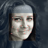 Recognition of female face. Biometric verification and identification. Recognition of a female face by layering a mesh and the calculation of the personal data stock image