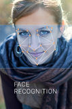 Recognition of female face. Biometric verification and identification Royalty Free Stock Photo