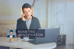 Recognition of male face. Biometric verification and identification Royalty Free Stock Photos