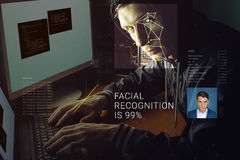 Recognition of male face. Biometric verification and identification. Recognition of a male face by layering a mesh and the calculation of the personal data by stock images