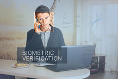 Recognition of male face. Biometric verification and identification Royalty Free Stock Photography