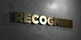 Recognize - Gold text on black background - 3D rendered royalty free stock picture Stock Images