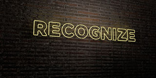 RECOGNIZE -Realistic Neon Sign on Brick Wall background - 3D rendered royalty free stock image Royalty Free Stock Image