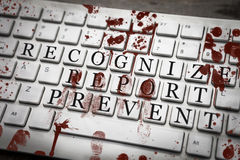 Free Recognize, Report, Prevent Sign On Bloody Keyboard With Fingerpr Stock Image - 84234561