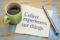 Recoja las cosas de las experiencias no imagen de archivo libre de regalías