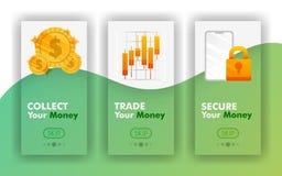 Recoja, negocie, asegure su concepto móvil del vector del dinero, plantillas móviles del app para las finanzas Fácil de utilizar  stock de ilustración