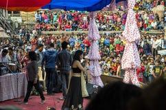 Recolectando en el cuadrado de Katmandu Durbar en el festival, Nepal Fotografía de archivo libre de regalías