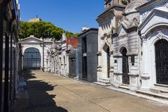 Recoleta cemetery in Buenos Aires beautiful view on empty street. With long shadows stock photos
