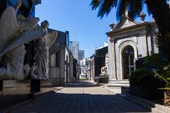 Recoleta cemetery in Buenos Aires view from shadow of tree. In summer royalty free stock photo