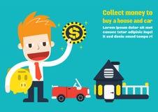 Recolha o dinheiro para comprar uma casa e um carro Imagens de Stock Royalty Free
