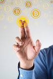 Recolhendo bitcoins Fotografia de Stock