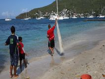 Recolhendo o arenque pequeno em uma praia nas Caraíbas video estoque