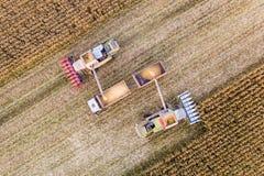 Recolhendo o milho no campo Cultivando, vista aérea fotografia de stock royalty free