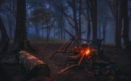 Recolhimentos da noite em torno da fogueira Imagem de Stock