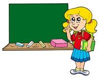 Recomendando a menina da escola com quadro-negro Fotos de Stock