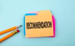 Recommandation, concept d'affaires Photos stock