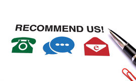 Recommend Us with icons and Pen on white background Stock Photo