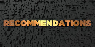 Recommendations - Gold text on black background - 3D rendered royalty free stock picture. This image can be used for an online website banner ad or a print Royalty Free Stock Photography