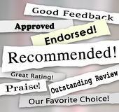 Recommended Approved Review Rating Torn Headlines Words. Recommended and other words on torn or ripped headlines such as approved, good review, great rating Stock Images