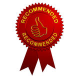 Recommended Ribbon. Recommended Seal with Thumbs Up Sign and Ribbons Stock Photography