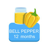 Recommended Time To Feed The Baby With Fresh Bell Pepper Cartoon Info Sticker With Fresh Vegetable And Puree In Jar Royalty Free Stock Images