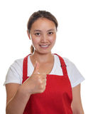 Recommending chinese waitress Stock Photo
