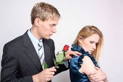Reconciliation. Couple with relationship problems royalty free stock photography