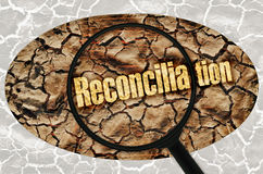 Reconciliation. Word Reconciliation under a magnifier on abstract background royalty free stock images