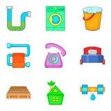Reconditioning icons set, cartoon style. Reconditioning icons set. Cartoon set of 9 reconditioning vector icons for web isolated on white background Royalty Free Stock Photo