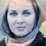 Reconhecimento da cara fêmea Verificação e identificação biométricas imagens de stock