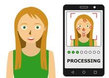 Reconhecimento facial Identificação biométrica Imagem de Stock