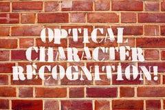 Reconnaissance à caractère optique des textes d'écriture de Word Concept d'affaires pour l'identification des caractères imprimés photographie stock