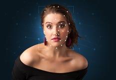 Reconnaissance d'un visage en posant une maille photo libre de droits