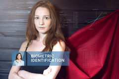 Reconnaissance de visage femelle Vérification et identification biométriques Photos libres de droits