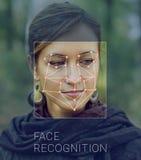 Reconnaissance de visage femelle Vérification et identification biométriques Images stock