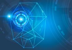 Reconnaissance des visages et bleu d'interface de HUD illustration de vecteur