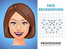 Reconnaissance des visages - système de sécurité biométrique illustration de vecteur