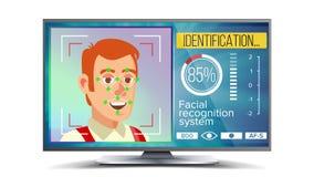 Reconocimiento de cara y vector de la identificación Tecnología del reconocimiento de cara Cara en la pantalla Rostro humano con  stock de ilustración