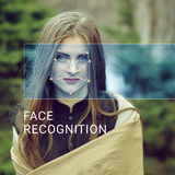 Reconocimiento de la cara femenina Verificación e identificación biométricas imagen de archivo
