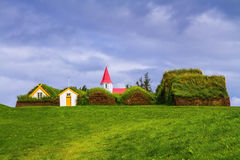 The reconstituted village early settlers. The village ancestors. The reconstituted village early settlers in Iceland. Roofs of houses covered with turf and grass Stock Photography
