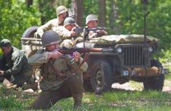 Reconstitution de bataille de WWII Images libres de droits