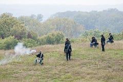 Reconstitution de guerre civile Images stock