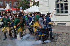 Reconstitution : Soldats de Carolean de Suédois à partir de 1700 Photographie stock