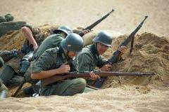 Reconstrução da batalha da segunda guerra mundial imagens de stock