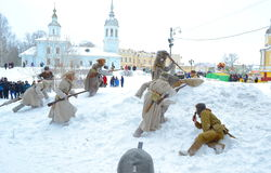 Reconstrução da batalha do exército Tsarist do russo Imagens de Stock