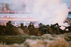 Reconstrução da batalha durante os eventos dedicados Fotografia de Stock