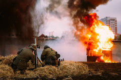 Reconstrução da batalha durante os eventos dedicados Fotografia de Stock Royalty Free