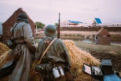 Reconstrução da batalha durante os eventos dedicados Fotos de Stock Royalty Free