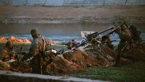 Reconstrução da batalha durante os eventos dedicados Foto de Stock