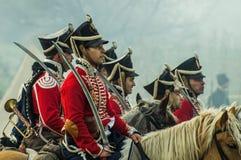 Reconstrução das batalhas da guerra patriótica da cidade 1812 do russo Maloyaroslavets Imagem de Stock